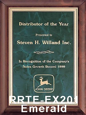 piano finish executive plaque with emerald plate - rrte-201 large view