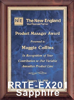 piano finish executive plaque with sapphire plate - rrte-201 large view
