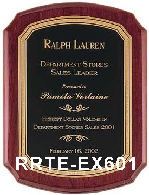 rosewood finish executive plaque with black textured plate - rrte-ex601 large view