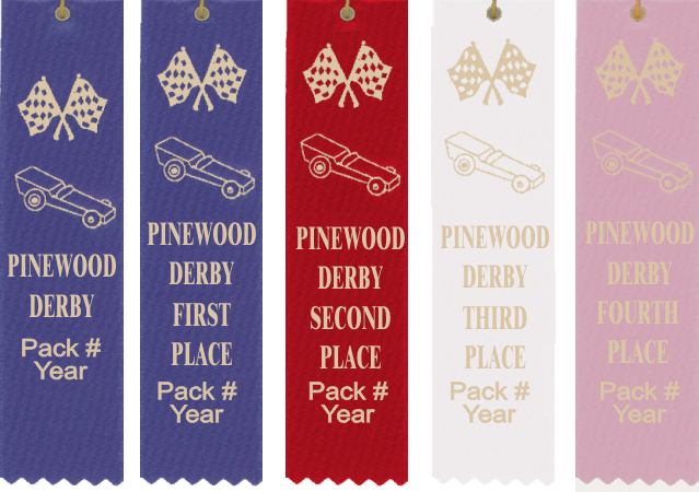 Pinewood Derby ribbons