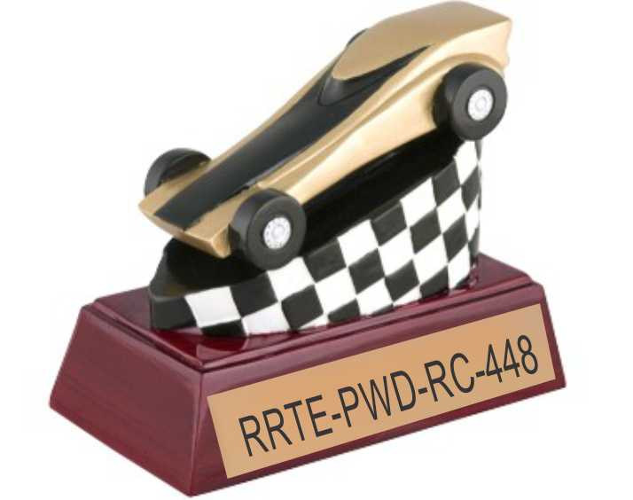 gold tone resin pinewood derby trophy - large picture