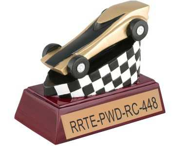 gold tone pinewood derby trophy, small picture
